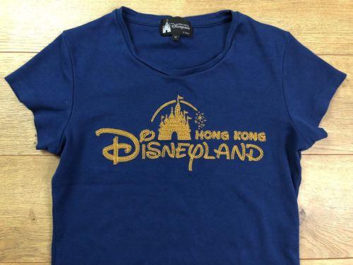 Disney Hong Kong Disneyland Women's T-Shirt Size M Blue Brown Embroidered