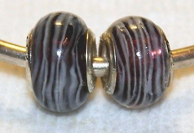 2x WHITE STRIPE PURPLE SILVER MURANO GLASS BEADS LOT D3 FIT EURO DIY CHARM BRC