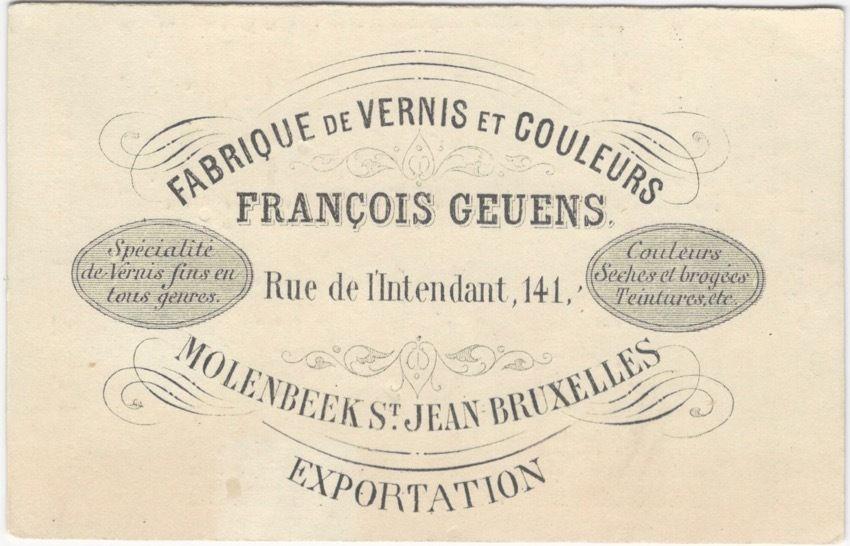 1880s Belgian Varnish & Paint Colors Manufacturer Trade Card