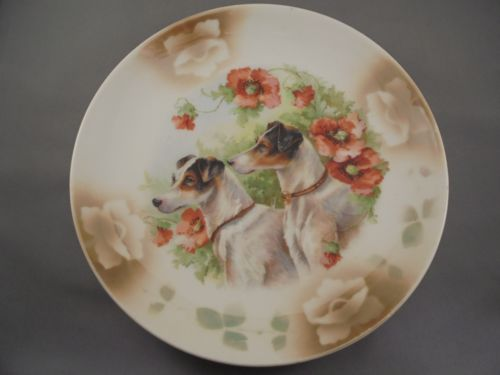 Old Antique Leuchtenburg Germany Dog & Poppy Flower Plate Jack Russel Terriers ?