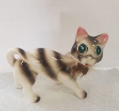 Vintage Ceramic Pottery Cat With strips and fur collar big green eyes