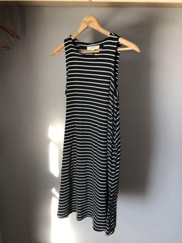 loft trapeze dress black and white striped size small