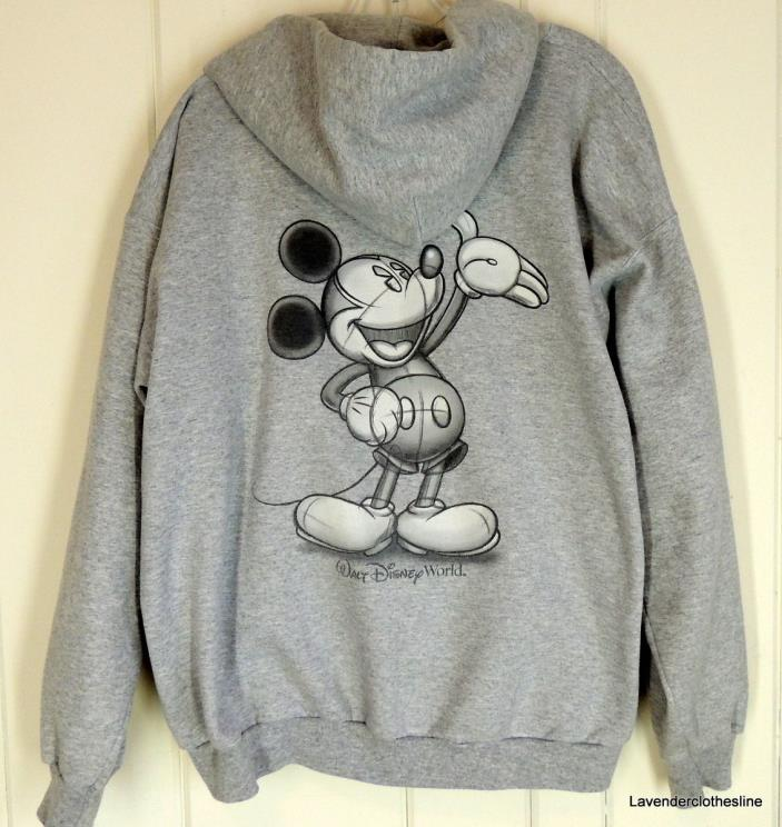 Walt Disney World Mens L Hanes Mickey Mouse Spellout Gray Hoodie Zip Sweatshirt
