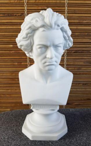 RARE Antique Beethoven Composer Porcelain Bust on Pedestal