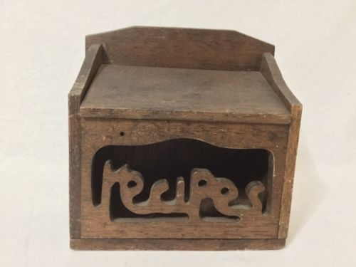 Vintage Wooden Wall Mount Hanging Recipe Pantry Box Primitive Country
