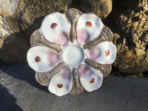 Antique Iridescent Porcelain Oyster Plate c.1800's, op464 ANTIQUE GIFT QUALITY!!