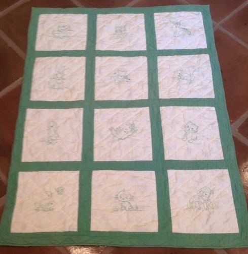 Antique Vintage Embroidered Baby Animal Baby Quilt