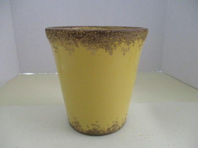 Golden Yellow High Ceramic/Clay Glazed Lacy Edge Design Vase/Planter