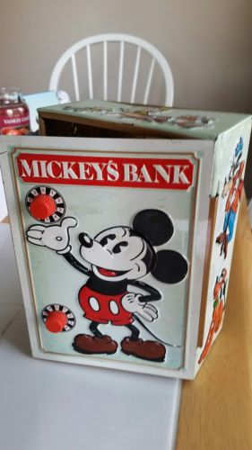 Vintage1978 tin litho Mickey Mouse DISNEY Bank Combination safe Pluto Donald