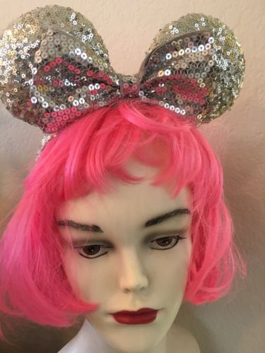 DISNEY Authentic Mickey/Minnie Mouse Ears Silver Sequins Headband ADULTS