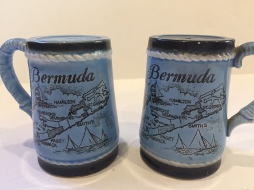Vintage Bermuda souvenir ceramic salt and pepper shakers - Made in Japan
