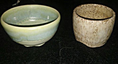 Pottery bowl and cup set; hand made