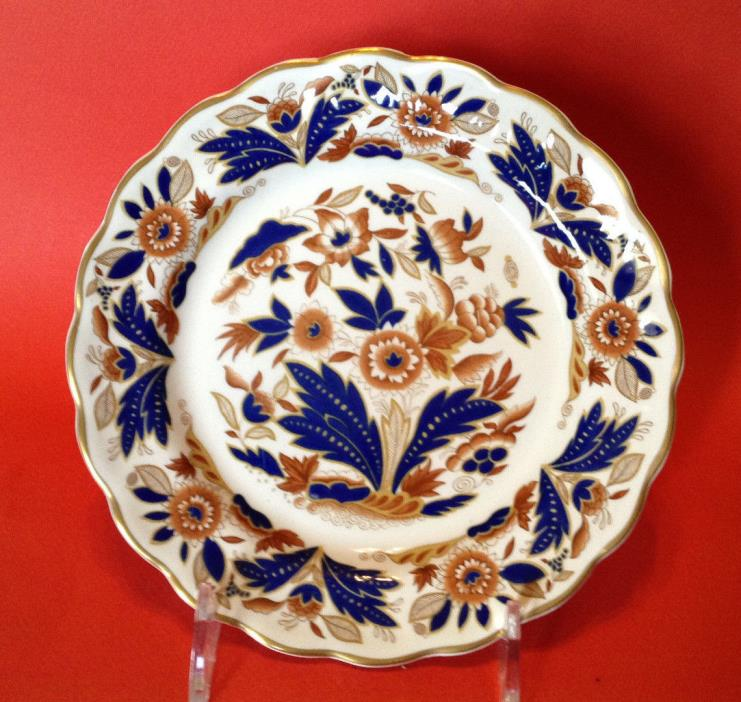 6 Six Booths Dovedale Dessert Or Luncheon Plates - Cobalt Blue And Brown