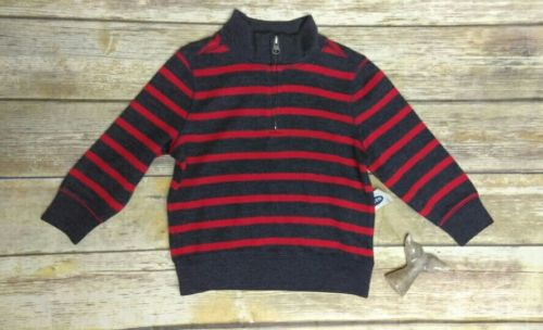 Old Navy Boys Striped Partial Zip Long Sleeve Pullover Shirt Size 18-24 Months