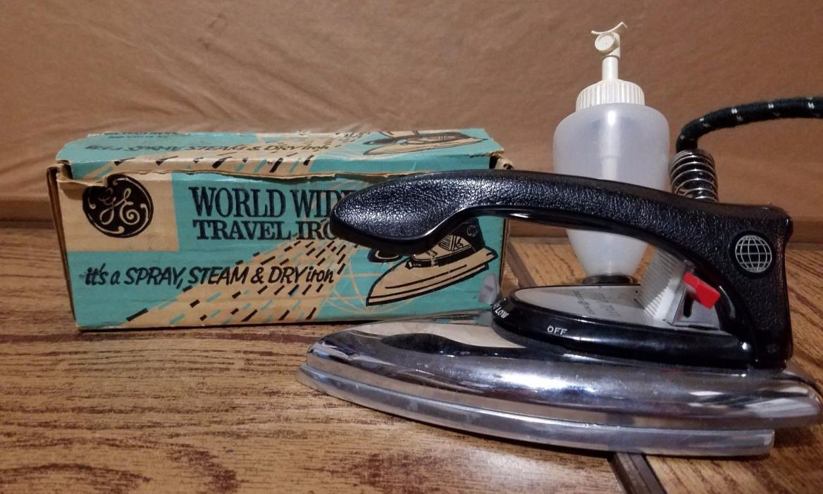 Vintage GE Travel Iron  W/ Original Box & Spray Bottle  *General Electric F49*