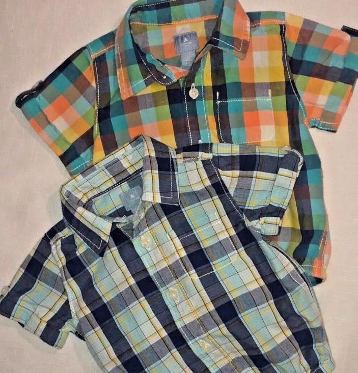 Baby Gap Boy's 3-6 Month Lot of 2 Short Sleeve Plaid Button Down Bodysuit Shirts