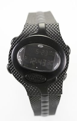 Fossil Watch Men Black Rubber Plastic 100m Water Resist Date Alarm Light Quartz