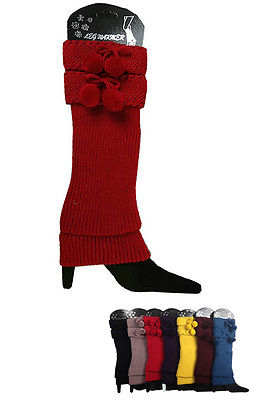 Women Leg Warmer Top 2 Pom Pom Tie Bow Knit Stretchy Slouchy Boot Cuff US SELLER