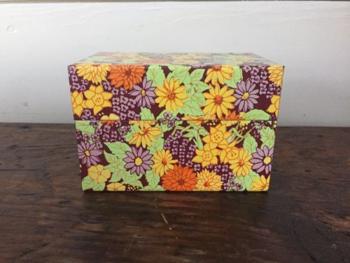 Vtg Tin Metal Recipe Box Floral Flower Syndicate Mfg Co Daffodil Daisy Dahlia
