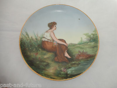 SPECTACULAR ANTIQUE HAND PAINTED AND SIGNED PORCELAIN DISH, WOMAN BY THE WATER
