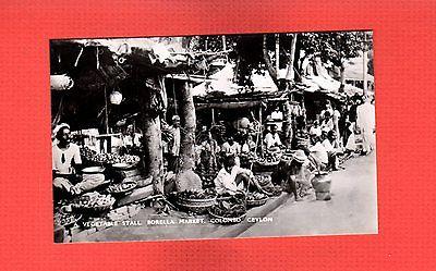 RPPC Ceylon,Colombo Vegetable Stall, Borella Market Scene