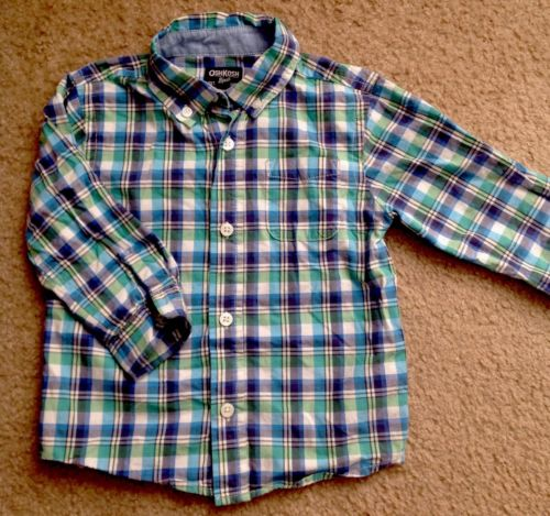 Infant Toddler Boy's OshKosh Long Sleeve 24M Blue Plaid Button Down Shirt