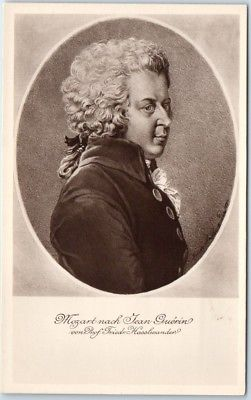 Vintage Composer Postcard W.A. MOZART Portrait by Jean Guerin c1910s Unused