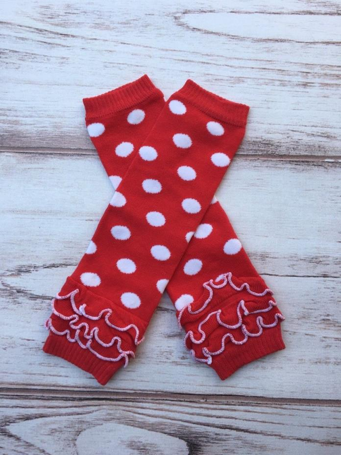 Red dot Minnie mouse ruffled Baby Toddler girls Leg Warmers
