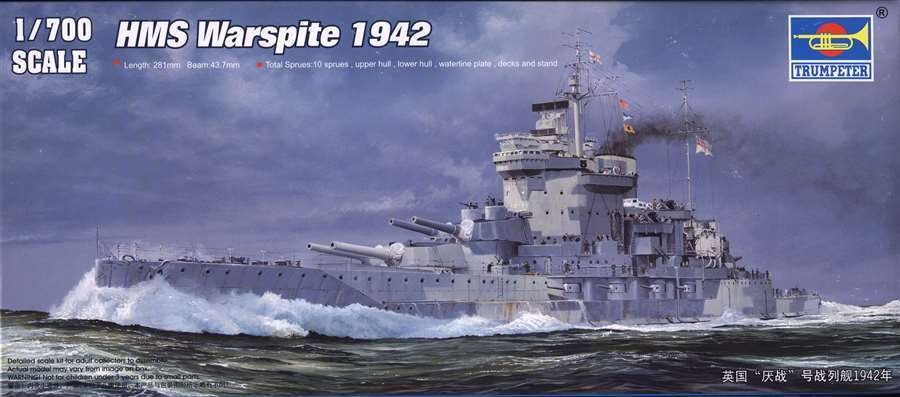 Trumpeter 1/700 HMS Warspite 1942 #05795  #5795 *New*Sealed*