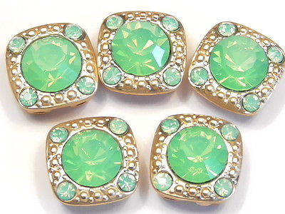 5 - 2 HOLE SLIDER BEADS 8mm & 2mm GREEN OPAL RHINESTONES IN SATIN GOLD FRAME