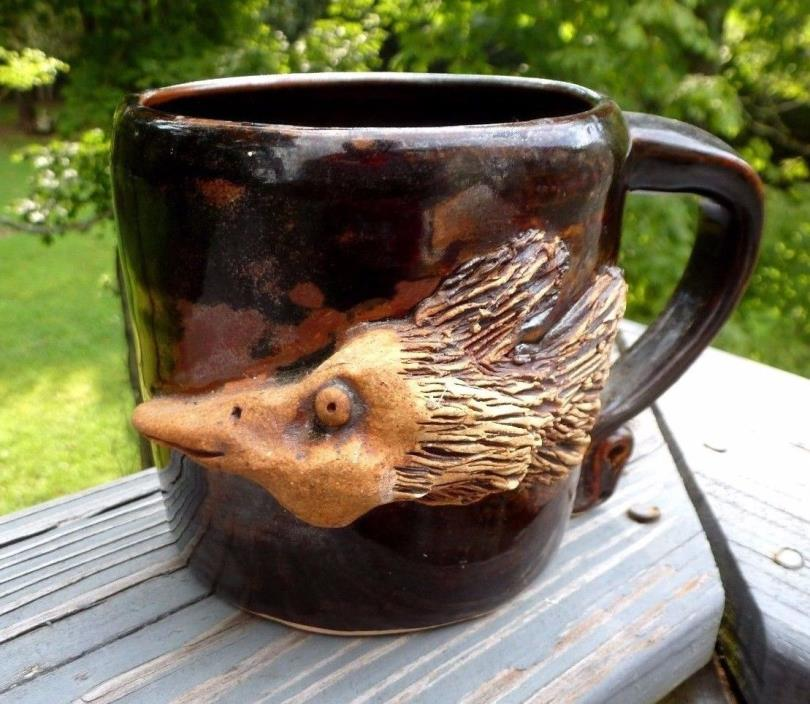 HUGE SIGNED BASS PLATYPUS FIGURAL POTTERY MUG COFFEE SOUP