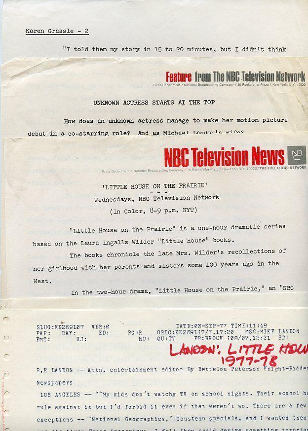 KAREN GRASSLE MICHAEL LANDON LITTLE HOUSE ON THE PRAIRIE NBC TV PRESS MATERIAL