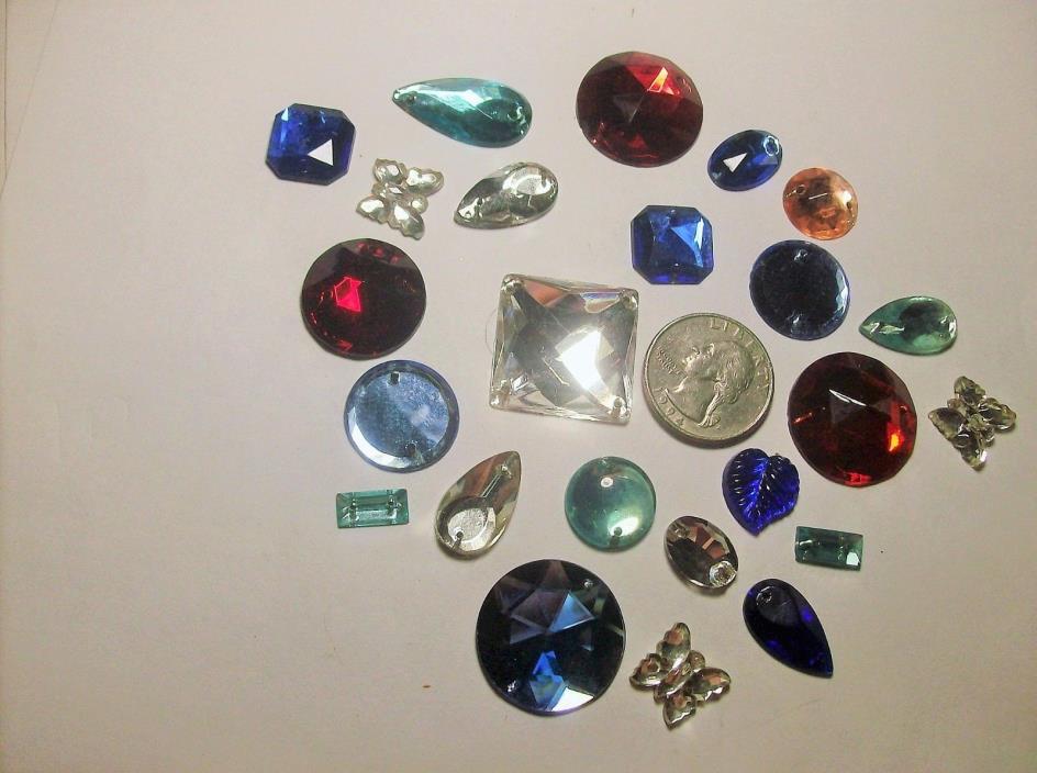 ASSORTED FLAT GLASS RHINESTONES -SEW ON----2 HOLES--1930s--#7--VINTAGE