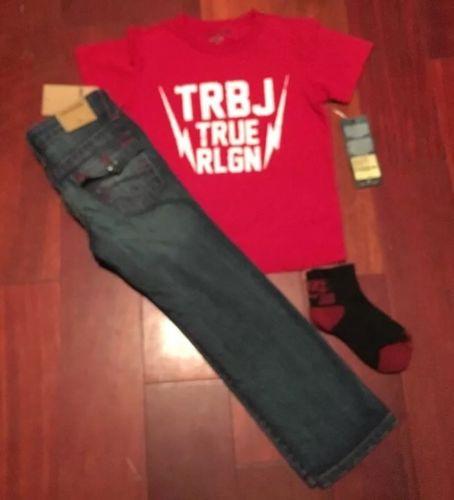 NWT Sz 5 TRUE RELIGION Boys Jeans Geno Single End CNTRST  Red Stitch + T.R TEE