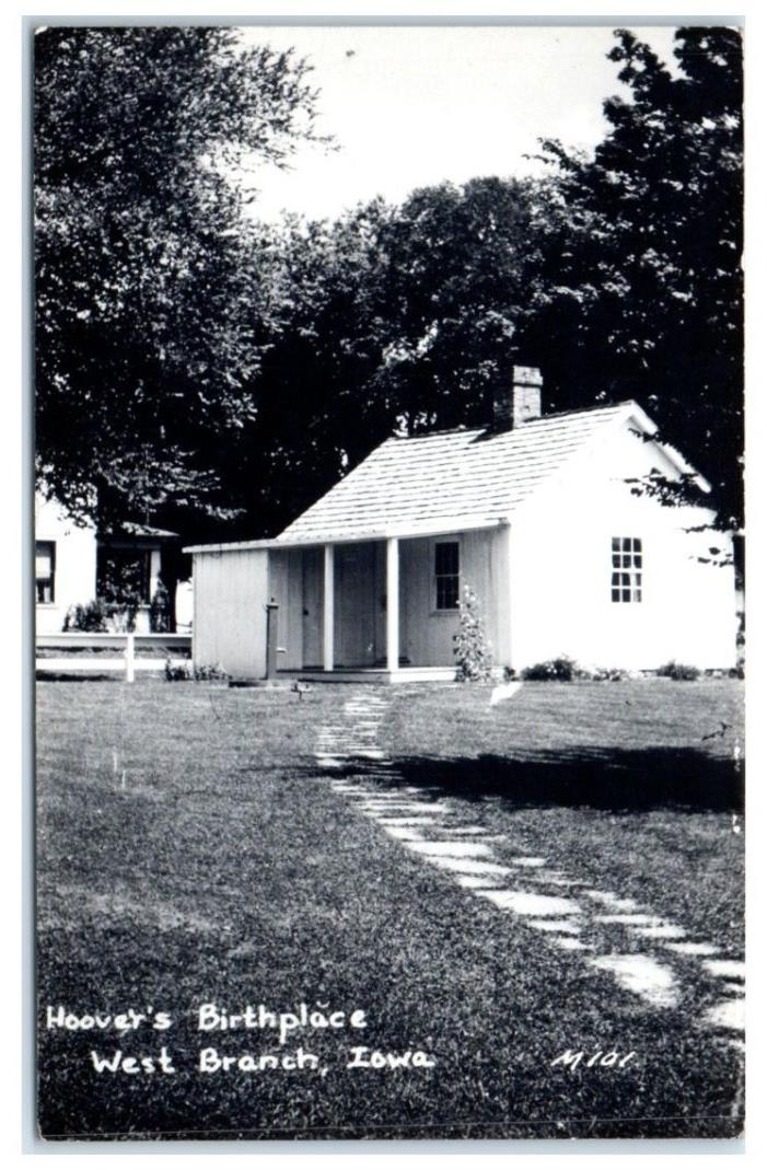 President Herbert Hoover's Birthplace, West Branch, IA RPPC Real Photo Postcard