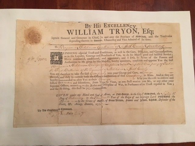 Colonial 1773 Military Commission SIGNED William Tryon Gvernor New York Carolina