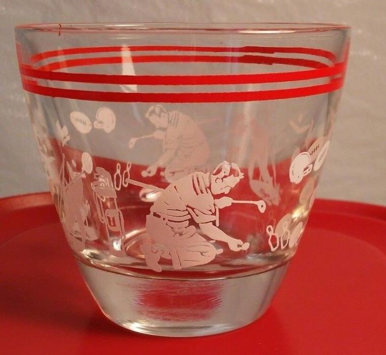 Vintage Double Shot Glass Sports Novelty Print Retro Home Bar Barware 1950 1960