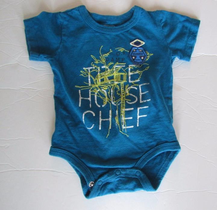 OshKosh Baby Boy Bodysuit Tee Shirt 12 mo Blue Tree House Chief Embroidered