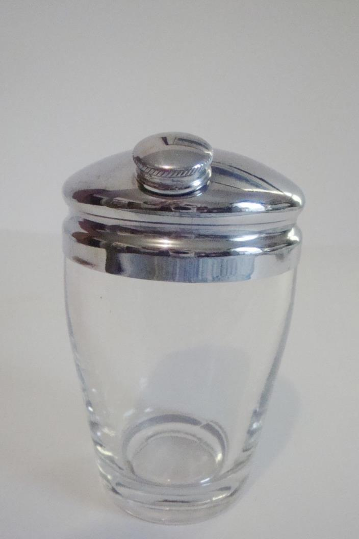 Martini Shaker with Pourer Chrome Lid On Glass, individual 8oz size, heavy glass