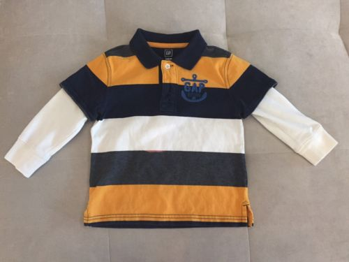 Baby Gap Boys Polo Shirt Size 3T Yellow Blue Thick Polo