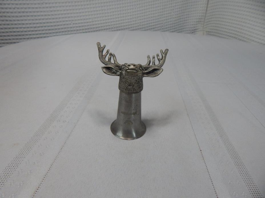 Jagermeifter Deer Elk Head Pewter Shot Glass Bottle Topper