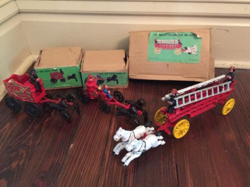 Vintage Foster & Gallagher Cast Iron Toys Reproduction Lot Horse Fire Circus