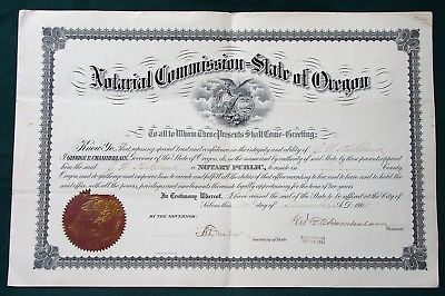 J.W Kirkland 1905 Oregon Notary Public Commission signed by Governor Chamberlain