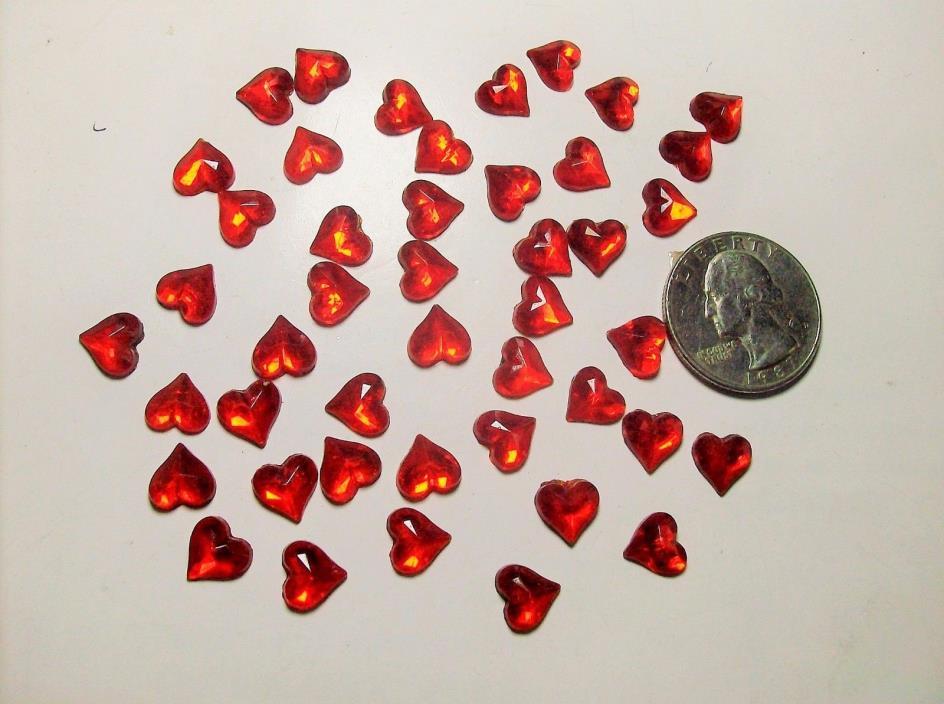 40 RED HEART GLASS RHINESTONE--30,s-----#7-----VINTAGE