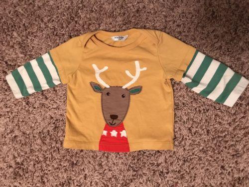 Baby Boden ~ Mini Boys Long Sleeve Striped Deer Shirt Top ~ 0-3 Months
