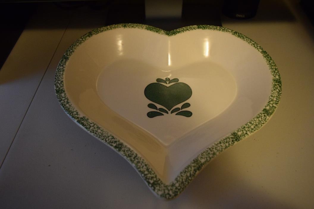 Green Hearts Spongeware Heart Shaped Pie Plate Pan Baking Dish