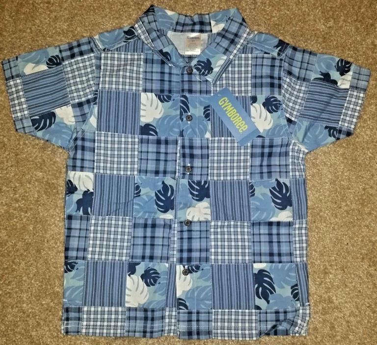Gymboree Blue Patchwork Boys Short Sleeve Button Up Shirt Boys Size 5T NWT