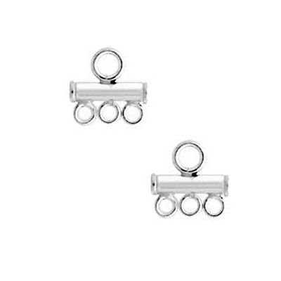 Sterling Silver 2.5mm Bead Triple Strand Reducer Link/2