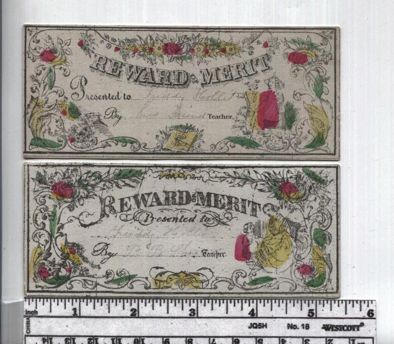 Antique Reward of Merit - Two Hand Colored -  Children & Lady w Child