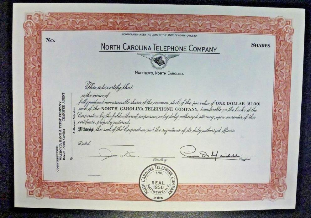 {BJSTAMPS} NORTH CAROLINA TELEPHONE COMPANY Unissued Stock Certificate